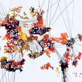 """Eleny Kasemets """"String series I"""". Teos on eksponeeritud Eesti Akvarellistide Ühenduse aastanäitusel SUVINE FUSIOON."""
